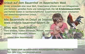 Rabattgutschein Bayerwaldcard - Angebote im Urlaub in Bayern